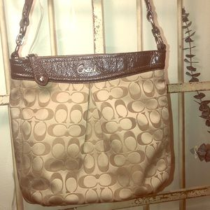 COACH Ashley Brown Logo Hippie Hobo Shoulder Bag